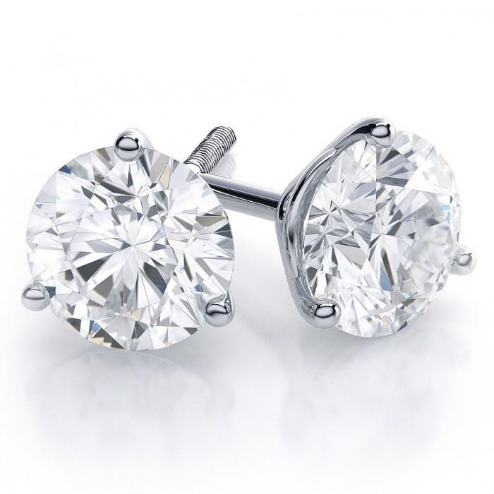 Diamond Stud Earring 6 Ct. Big Round Solid White Gold 14K Prong Set Stud Earrings