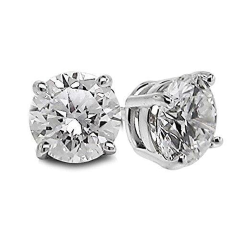 Diamond Stud Earring Solid White Gold 14K Lady Fine Jewelry 2 Carats Stud Earrings