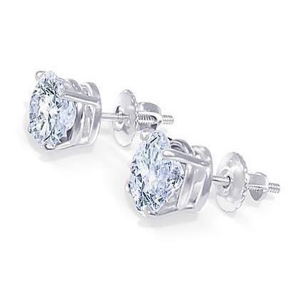 Diamond Stud Earrings 1.80 Carats White Gold 14K Stud Earrings