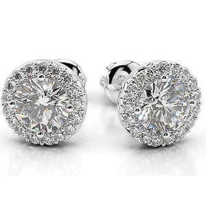 Diamond Stud Halo Earrings 4 Carats White Gold 14K Women Jewelry Halo Stud Earrings