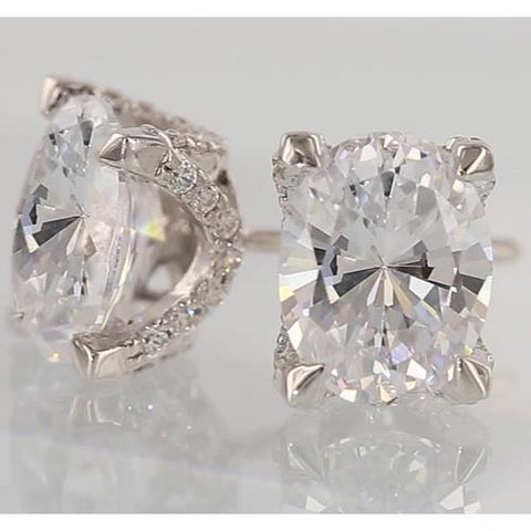 Diamond Studs Earring Oval 2 Carats Stud Earrings