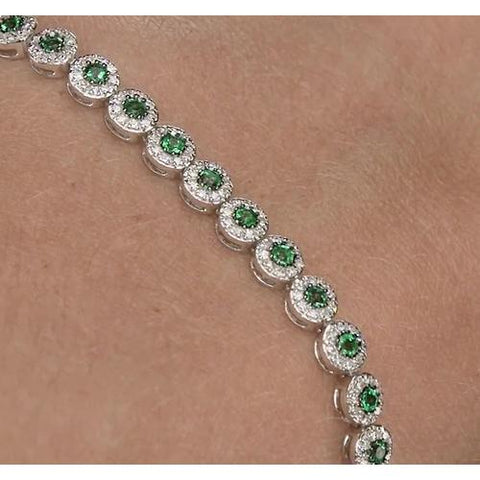 Diamond Tennis Bracelet 12 Carats Green Sapphire Prong Set Gemstone Bracelet