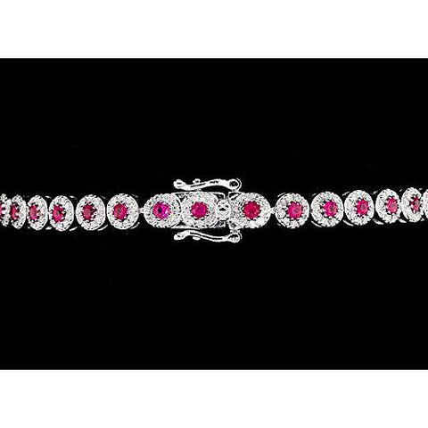 Diamond Tennis Bracelet 12 Carats Prong Set Pink Sapphire White Gold 14K Gemstone Bracelet