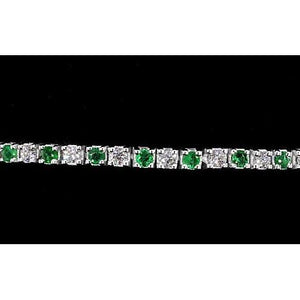 Diamond Tennis Bracelet Green Sapphire 6 Carats Women Jewelry White Gold Gemstone Bracelet