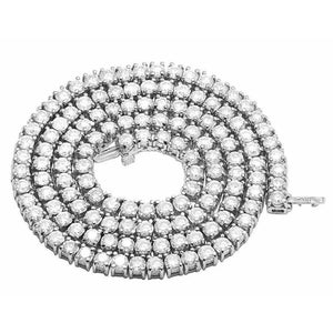 Diamond Tennis Chain Necklace 15 Carats 30 Inches 8 Mm White Gold 14K Chains Necklace