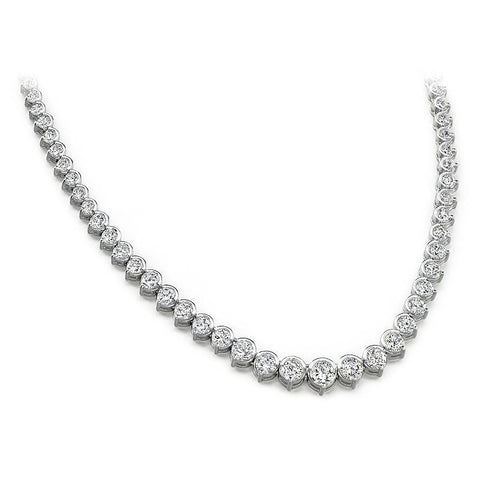 Diamond Tennis Necklace 12 Carats White Gold 14K Necklace
