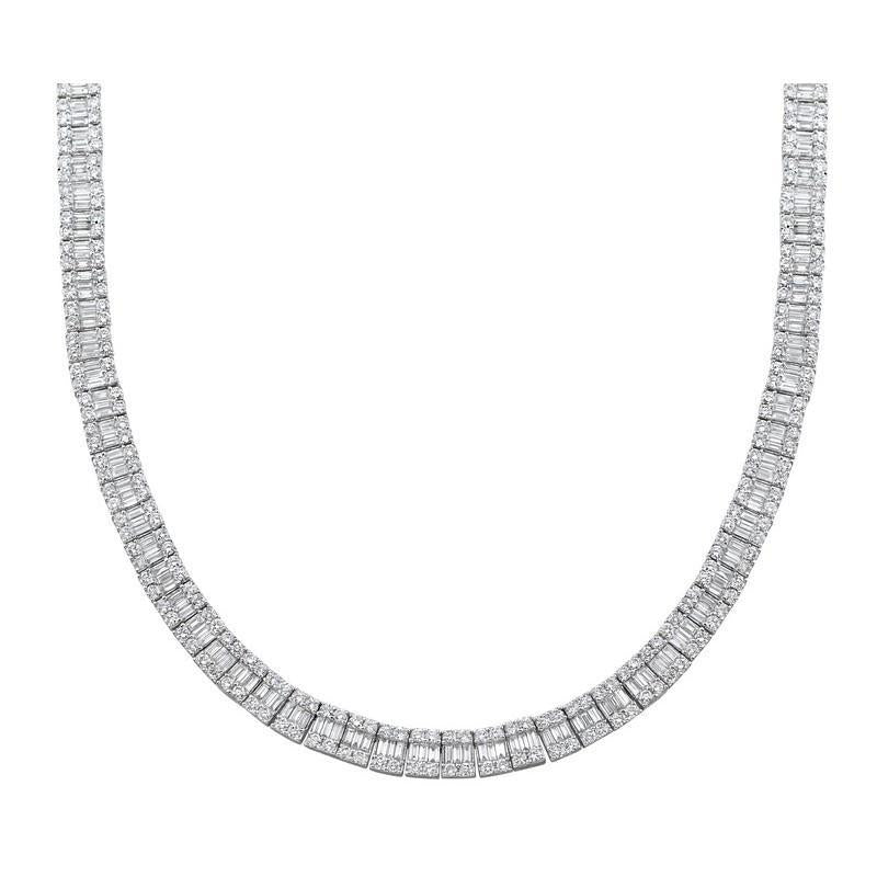 Diamond Tennis Necklace 17. 20 Carats Women Jewelry White Gold 18K Necklace