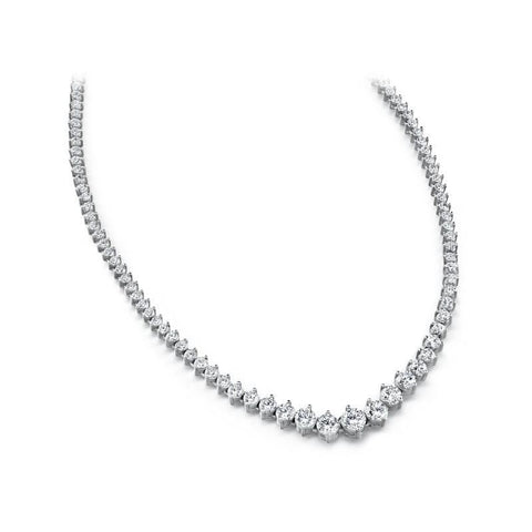 Diamond Tennis Necklace 5 Carats White Gold 14K Necklace