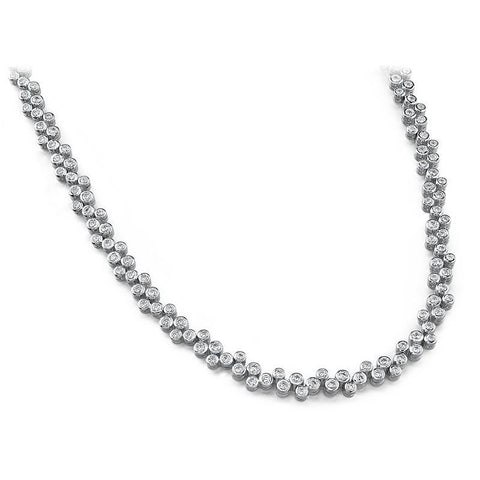 Diamond Tennis Necklace Women Jewelry Gold White 4 Carats Necklace