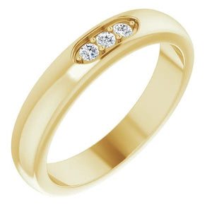 Diamond Three Stone Men'S Ring 0.50 Carats Yellow Gold Mens Ring