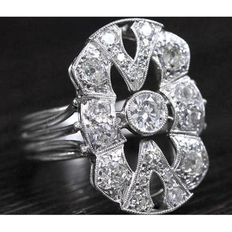 Diamond Vintage Style Ring 2 Carats Milgrain White Gold Jewelry Engagement Ring