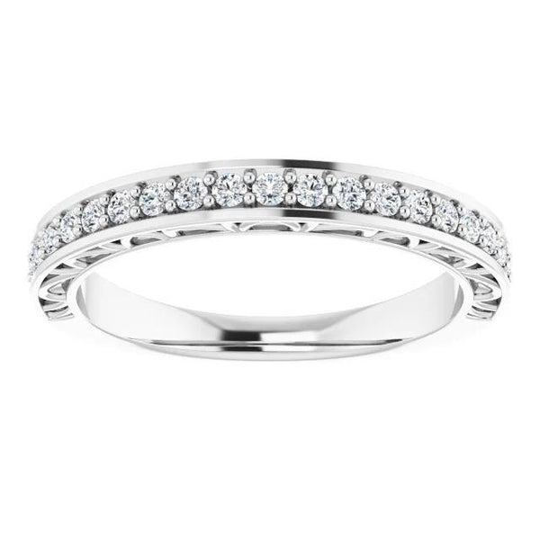 Diamond Wedding Band Prong Setting 1.10 Carats White Gold Half Eternity Band