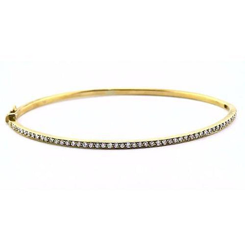 Diamond Women Bangle 2 Carats Yellow Gold 14K Jewelry Bangle
