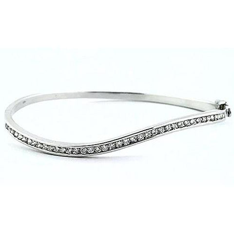 Diamond Women Bangle 3 Carats White Gold 14K Jewelry Bangle