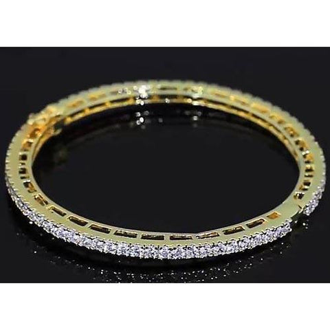 Diamond Women Bangle 4 Carats Yellow Gold 14K Jewelry New Bangle