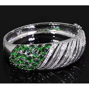 Diamond Women Bangle Columbian Emerald 23.25 Carats Jewelry Bangle