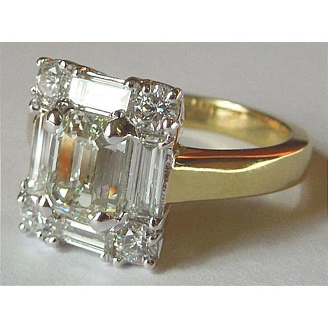 Diamond Women Engagement Ring Emerald Cut Diamond 3.11 Carat 18K Platinum Two Tone Solitaire Ring with Accents