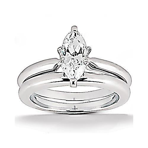 Diamonds 1.25 Ct. Marquise Cut Engagement Solitaire Ring Band Set Engagement Ring Set