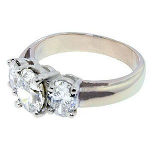 Diamonds  3 Stone Women Engagement Ring White Gold Ring 3 Cts. Three Stone Ring