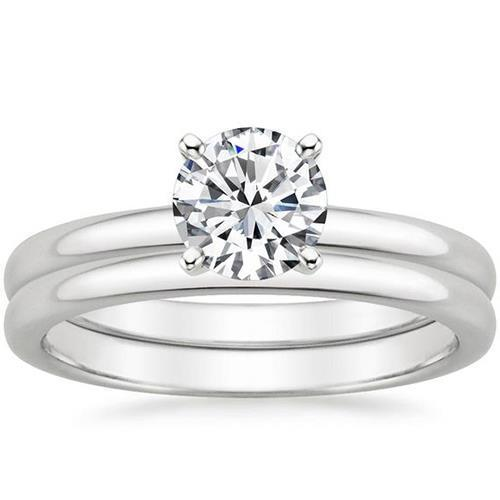 Diamonds 3.01 Ct E Vs1 Solitaire Ring Band Set 18K White Comfort Fit Engagement Ring Set