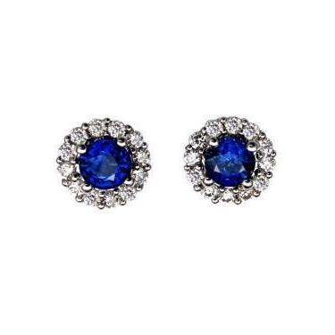 Diamonds 3.10 Carats Ceylon Sapphire And Ladies Studs Earrings Halo Gemstone Earring