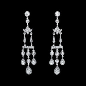 Diamonds Chandelier Earring 3.5 Carat White Gold Hanging Jewelry Women Chandelier Earring