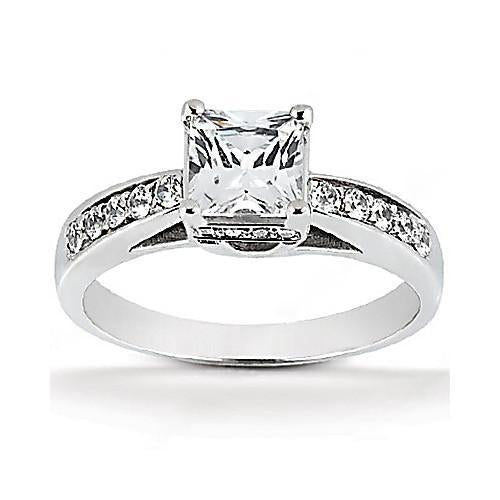 Diamonds F Vvs1 Engagement Ring 2 Cts. Diamond Jewelry Solitaire Ring with Accents