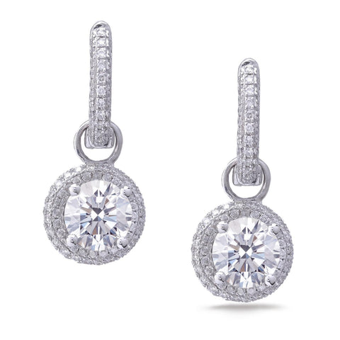 Diamonds Ladies Dangle Earrings Round Cut 2.90 Carats White Gold 14K Dangle Earrings