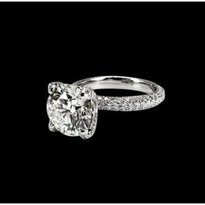 Diamonds Ladies Engagement Ring Solitaire With Accents White Gold 3 Carats F Vs1/Vvs1 Solitaire Ring with Accents