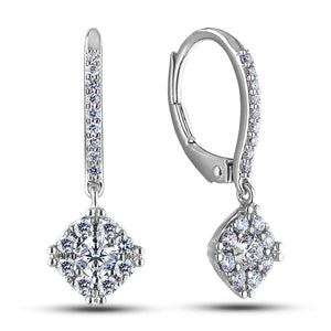Diamonds Lady Dangle Earrings F Vs1/Vvs1 White Gold 14K 2.00 Carats Dangle Earrings