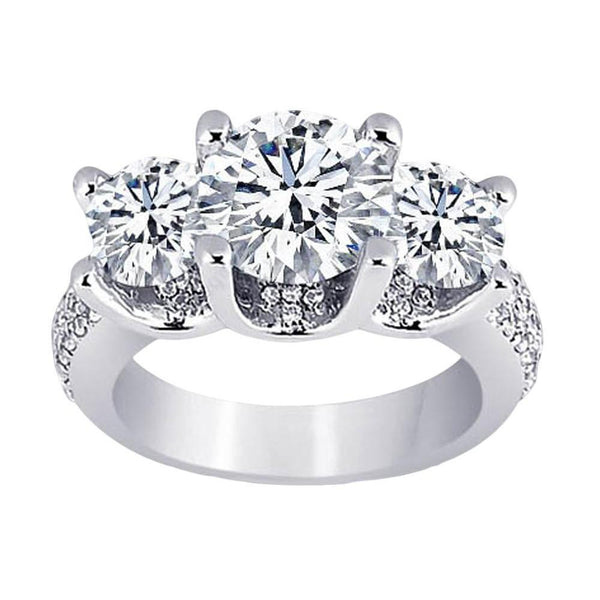 Diamonds Pave  Three Stone Engagement Ring White Gold 14K 4.11 Carat Three Stone Ring