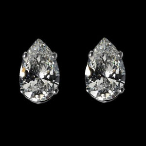 Diamonds Women Stud Earring 3.5 Carats White Gold Pear Cut Stud Earrings