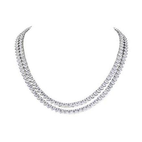 Double 38 Carats Round Cut Diamonds Lady Necklace White Gold 14K Necklace