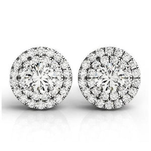 Double Halo 3.50 Carats Round Diamonds Lady Studs Earrings White Gold 14K Halo Stud Earrings