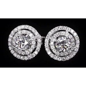 Double Halo Diamond Studs 3.50 Carats Halo Stud Earrings