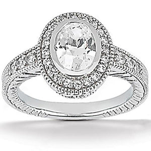 E Vvs1 1.67 Carat Halo Round Diamond Engagement Ring Set Gold Jewelry Halo Ring