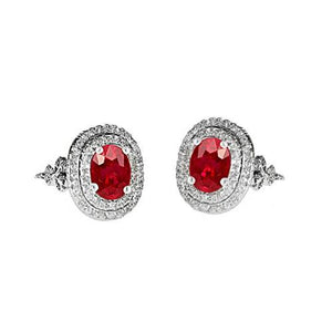 Earring Red Ruby And Diamonds 6.25 Ct White Gold 14K Gemstone Ring
