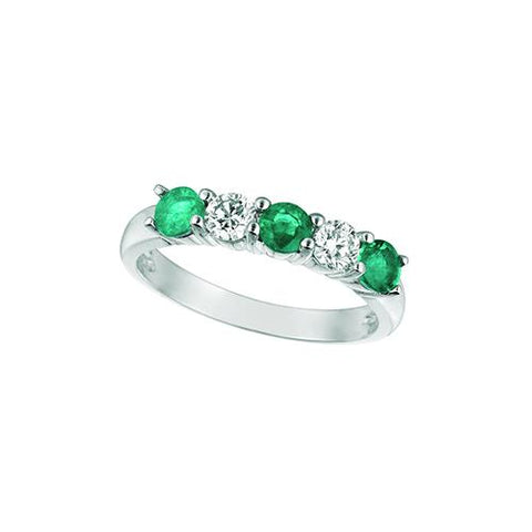 Emerald And Diamond 5 Stones Eternity Ring 0.4 Carats 14K White Ring