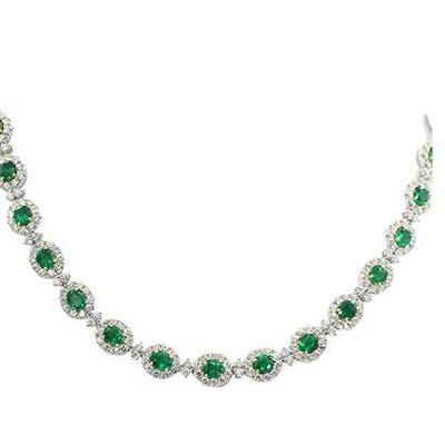 Emerald And Diamond Necklace Women White Gold Jewelry 32 Ct Gemstone Necklace