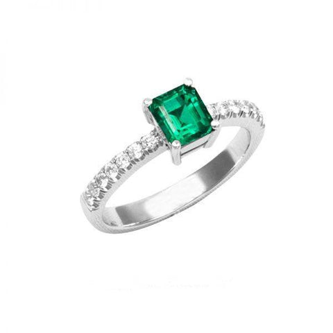 Emerald And Diamonds 2.80 Carats Engagement Ring White Gold 14K Gemstone Ring