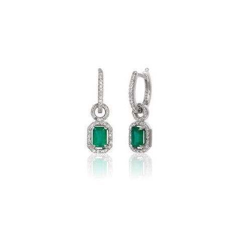 Emerald And Diamonds 7.50 Carats Lady Dangle Earrings White Gold 14K Gemstone Earring