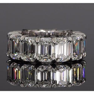 Emerald Cut Diamond Eternity Band 10.50 Carats White Gold Jewelry Eternity Band