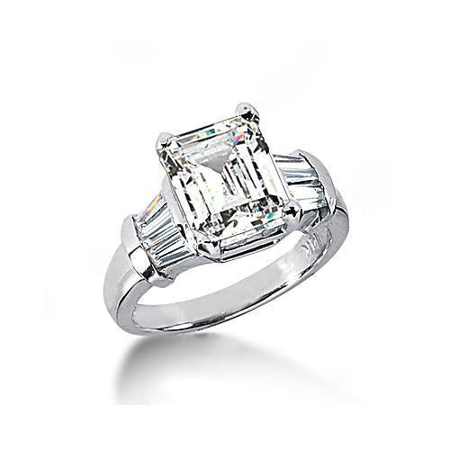 Emerald Cut Diamonds Ring 3 Ct. Diamonds Gold Three Stone Ring Three Stone Ring