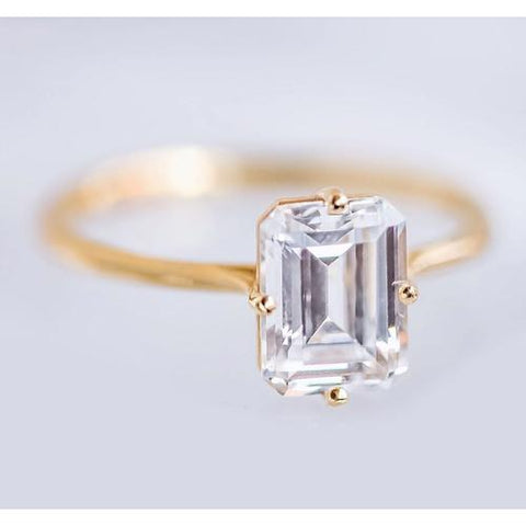Emerald Cut Solitaire Diamond Ring 2.5 Carats Yellow Gold 14K Solitaire Ring