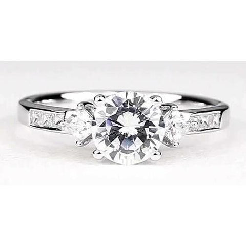 Engagement Ring 2 Carats Round Diamond White Gold 14K Vs1 F Engagement Ring