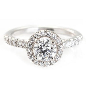 Engagement Ring 3 Carats Halo Round Diamonds White Gold 14K Halo Ring