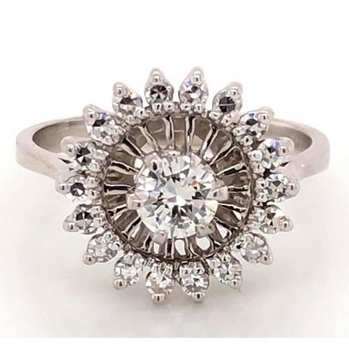 Engagement Ring Diamond 2 Carats Antique Style White Gold 14K Halo Ring