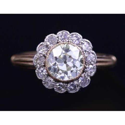 Engagement Ring Old Mine Cut 3 Carats Vintage Style Women Jewelry Engagement Ring