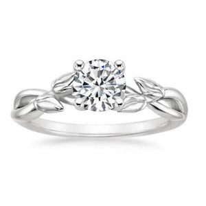 Engagement Ring Prong Set Sparkling 1.50 Carat Solitaire Round Cut Diamond Leaf Style Shank Solitaire Ring