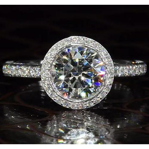 Engagement Ring Round Halo Diamonds 4 Carats F Vs1 Jewelry Halo Ring